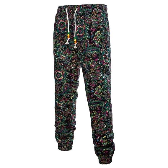LuckyGirls Pantalones Casuales Hombres Chandal Originales Estampado de Floral Viento Nacional Jogger Ropa Deportiva Slim Fit