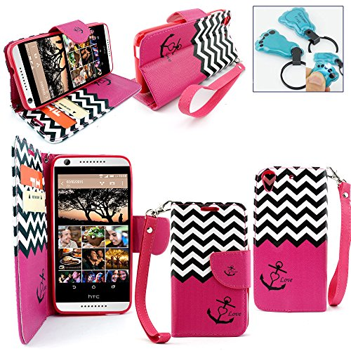 tomerfirst Magnetic Leather Flip Wallet Pouch For HTC ONE A9, Slim Folio Case with Kickstand, 2 Credit Card Slot Wallet Pouch For HTC A9 - Includes Key Chain (Zebra Pink) ()