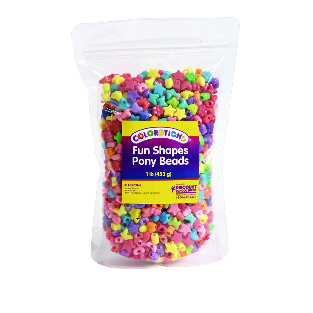 1 lb. Colorations FUNPONY Fun Shapes Pony Beads