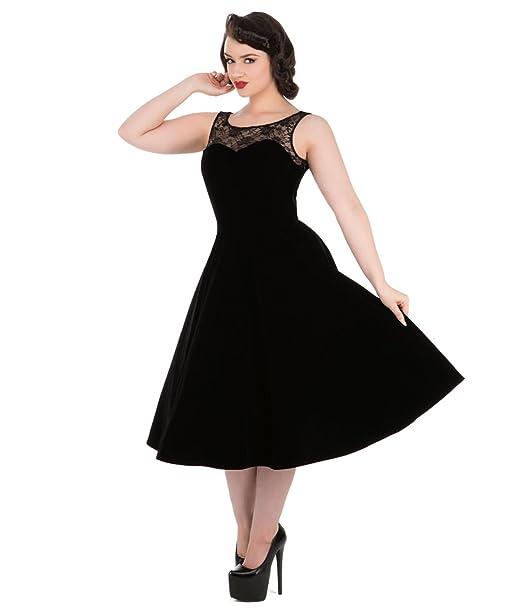 H&R London Años 50 Estilo Terciopelo Romance Vestido fiesta noche negro - Negro, UK 8