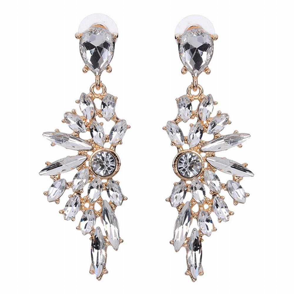JIN Europe and the United States exaggerated personality fashion alloy short diamond earring temperament earrings, B fashion Dangle Drop Earrings for women girl