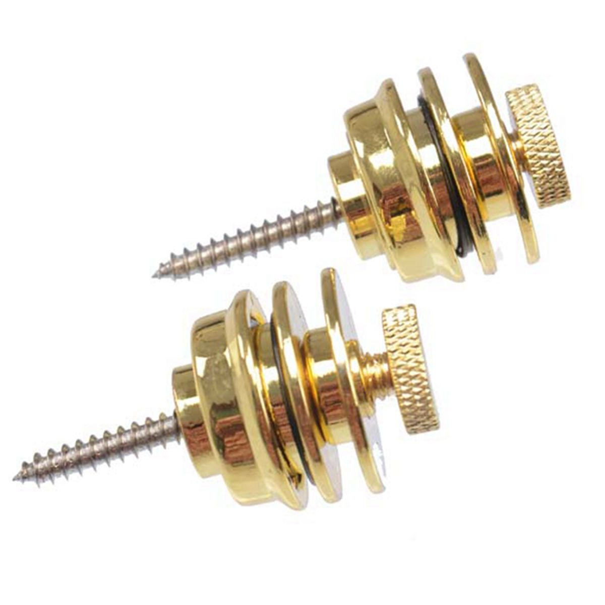 TIANOR 2pcs Guitar Strap Lock Buttons- Security Straps locks, High Quality Guitar Tail Nails, Anti-stripping lock system for Guitar and Bass Strap, Golden