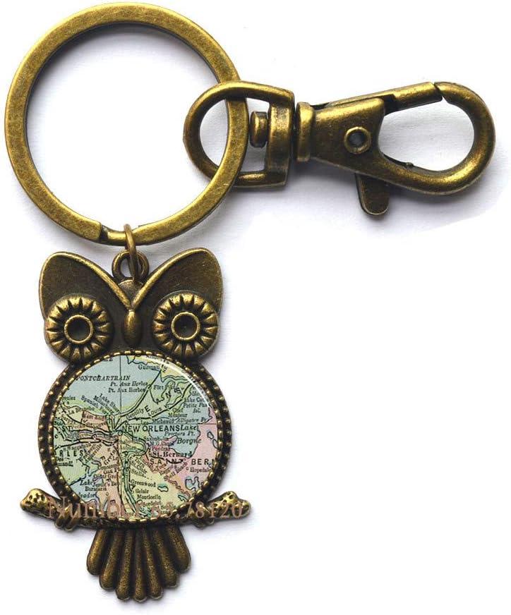 Amazon Com Louisiana New Orleans Map Key Ring Louisiana Charm Louisiana Owl Keychain Key Ring Louisiana State Owl Keychain Bv173 V2 Office Products