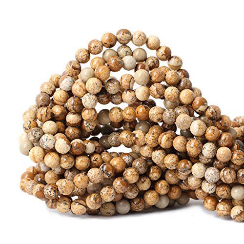 Jasper 6 Mm Gemstone - Qiwan 60PCS 6mm Brown Picture Jasper Gemstone Loose Beads Natural Round Crystal Energy Stone Healing Power for Jewelry Making 1 Strand 15