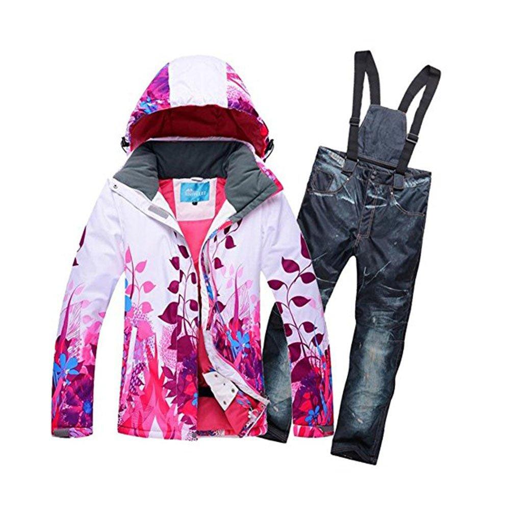 Women's Snowboard Suit Colorful Ski Coat and Pants Set GS SNOWING