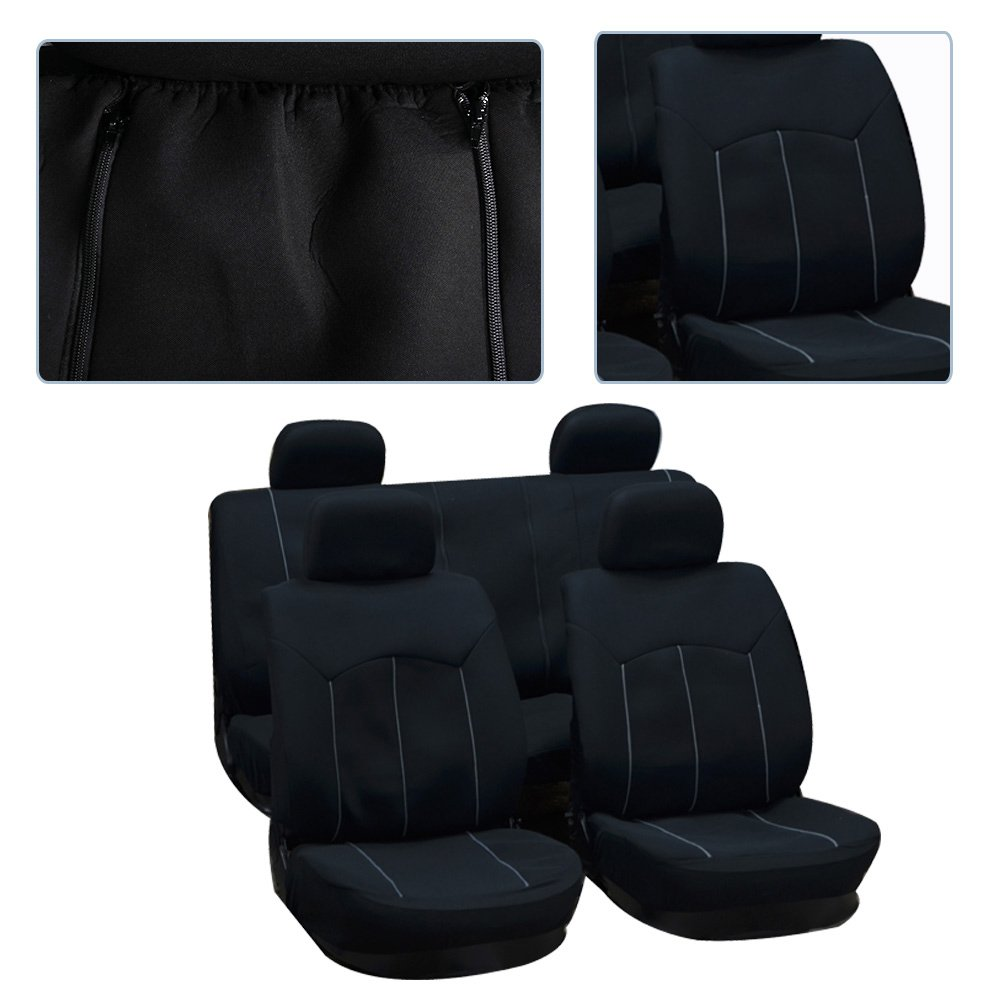 Black cciyu Seat Cover Universal Car Seat Cushion W//Headrest Covers 100/% Breathable Car Seat Cover Washable Auto Covers Replacement fit for Most Cars