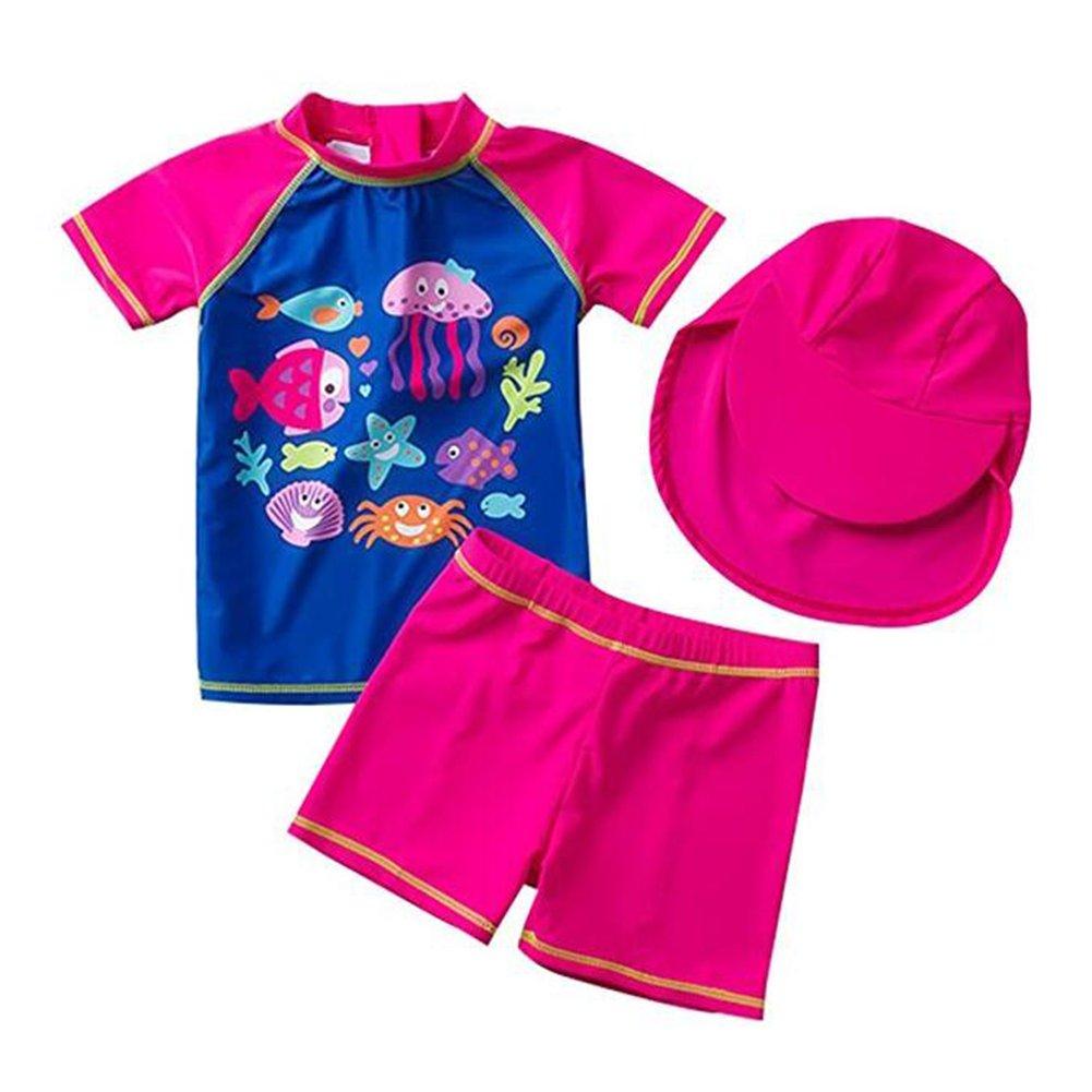 Zulaniu Baby Girls Two Pieces Swimsuit Set Short Sleeve Sunsuit Rash Guards UPF 50+