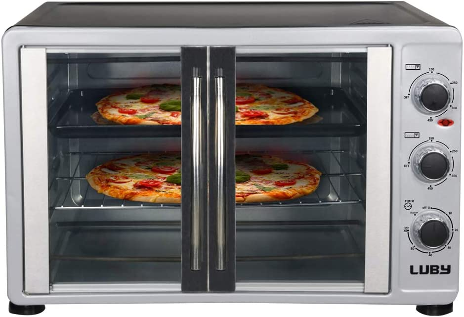 Luby Extra Large Toaster Oven, 18 Slices, 14 pizza, 20lb Turkey, Silver, Stainless Steel