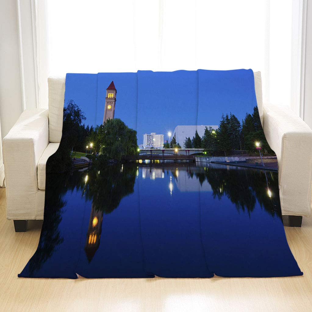 BEIVIVI Creative Design Flannel Soft Throw Blanket Clock Tower During Nighttime at Riverfront Park in Spokane WA All Season Blanket for Bed Or Sofa, Easy Care by BEIVIVI