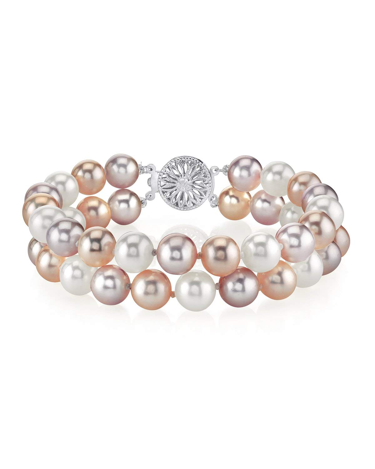 THE PEARL SOURCE Sterling Silver 8-9mm AAA Quality Round Multicolor Freshwater Cultured Pearl Double Strand Bracelet for Women by The Pearl Source