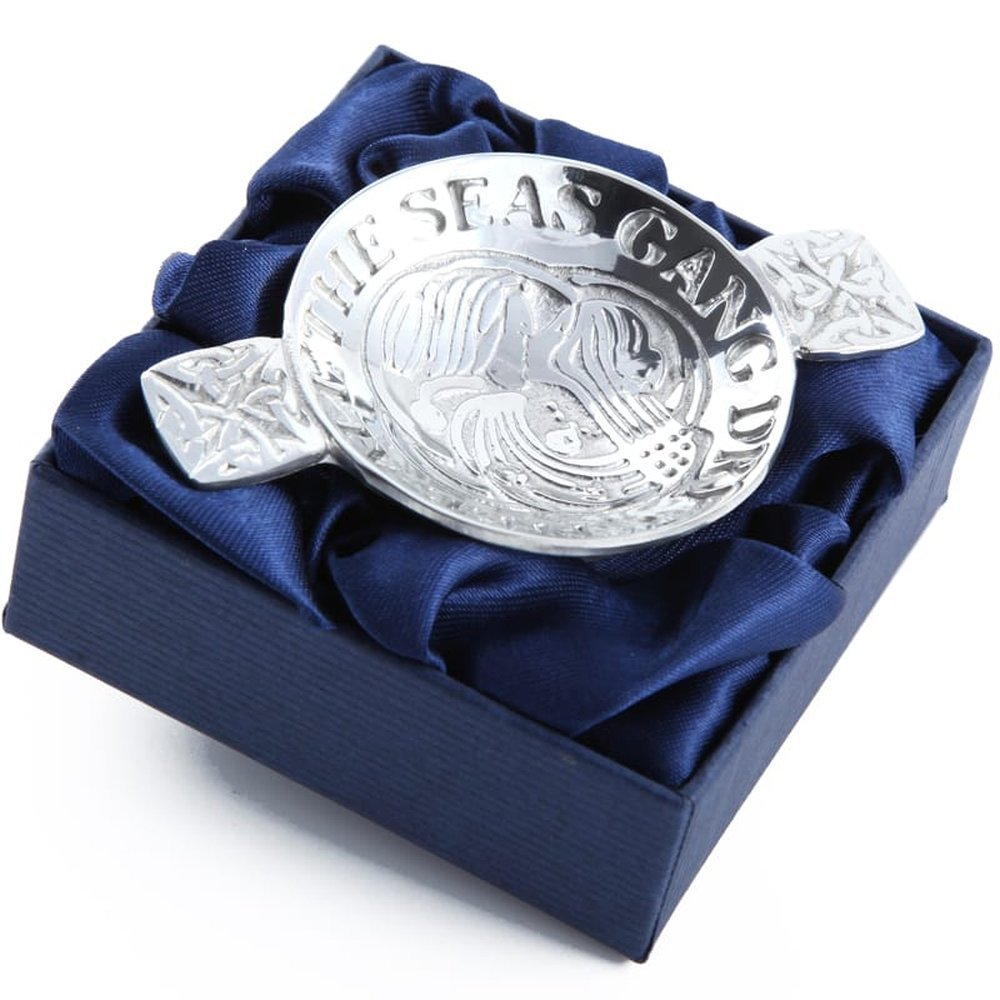 """""""And I will love thee still, my dear, till a' the seas gang dry"""" mini pewter quaich Pewtermill Crafts"""