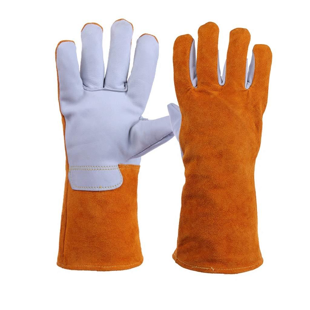 LDKFJH Idea for Work Gloves, Heat Resistant Gloves,Work Protective Gloves Welding Gloves Long Leather Heat Resistant Lined Protective Gloves(Yellow)