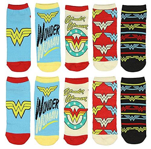 DC Comics Wonder Woman Logo Juniors 5 Pack Low Cut Ankle Socks (Dc Logo Socks)