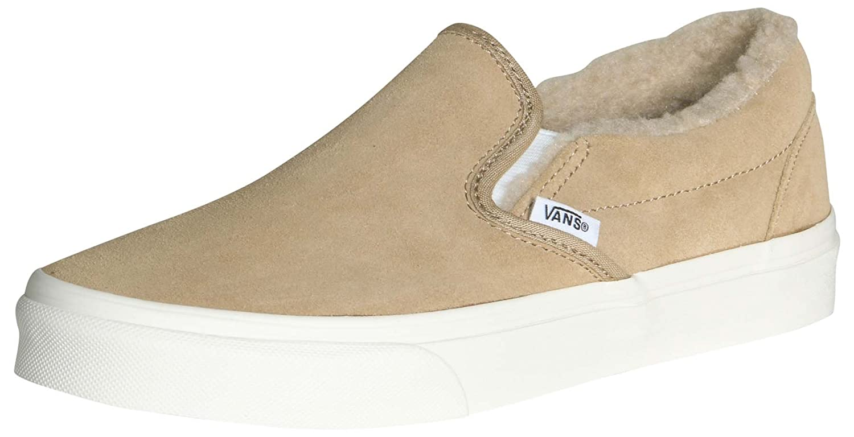 Vans Men's Classic Slip On (Suede & Suiting) Skateboarding Shoes B07B8QSKZY 12 B(M) US Women/10.5 D(M) US Men|Khaki/True White