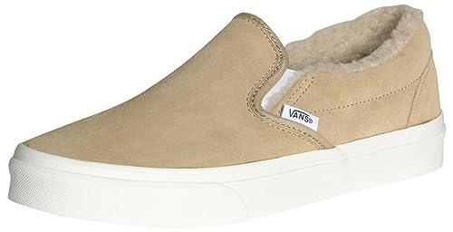 30f67b9d6c0 Vans Unisex Classic Slip-On Suede Fleece Skate Shoes-Khaki-9.5-Women ...
