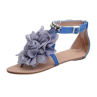 Ouneed® Damen Sandalen ,Damen Sommer Böhmen Elegant Perlen Sommer Blume flache Flip Flops Damen schuhe Sandalen (41, Blau)