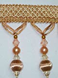 "3.5"" Tassel Fringe Beads Wood Ball Trim Gold Peach"