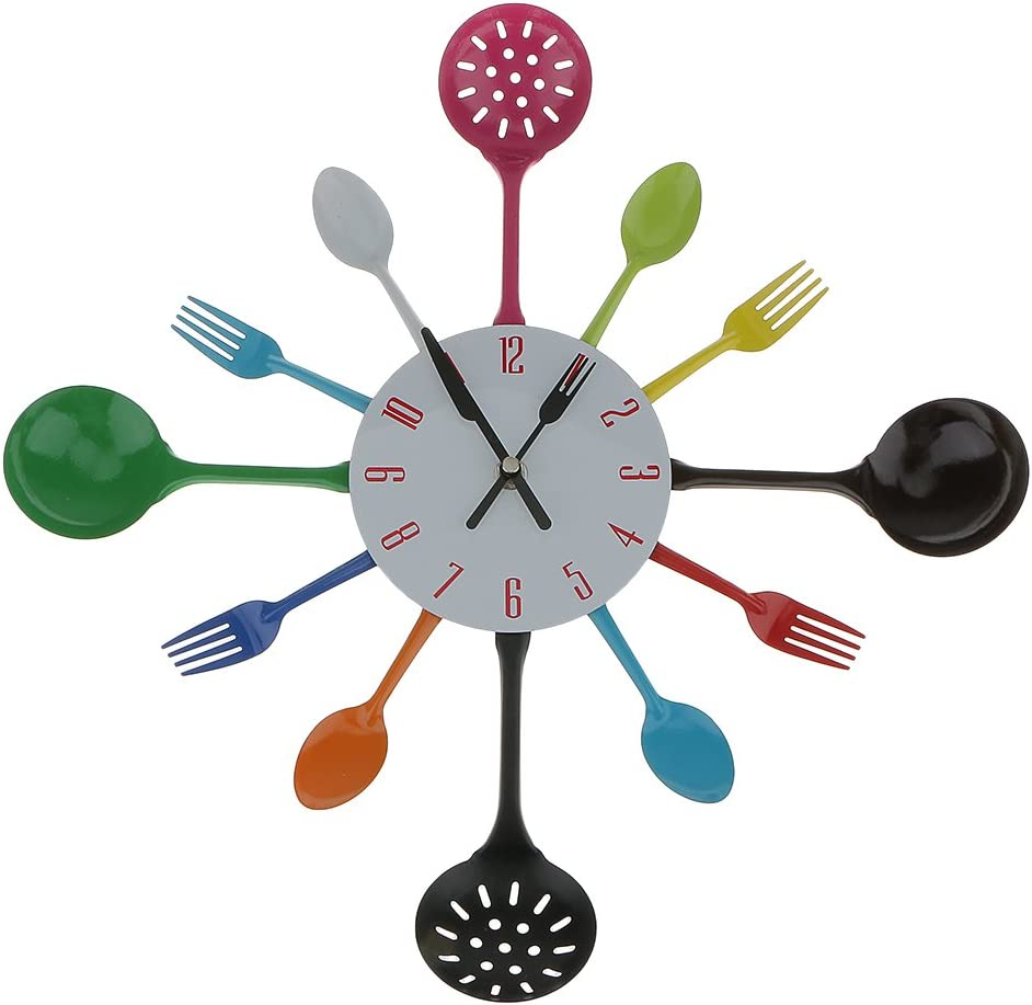 Reloj Pared Moderna Decoración Cocina Forma Cubiertos Tenedor Cuchara Colorido: Amazon.es: Juguetes y juegos
