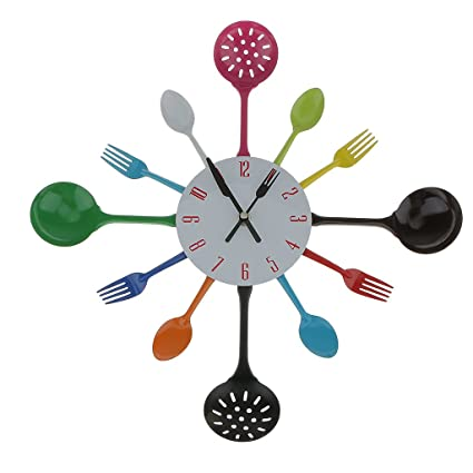 Modern Spoon Fork Clock Cutlery Kitchen Wall Clock Decoration Colorful