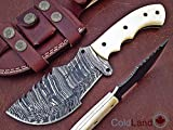 Christmas Gift Offer by ColdLand | Retail More Than 250$ Custom Handmade Damascus Steel Tracker Hunting Knife (Now with Newly Designed Leather Sheath) Z33