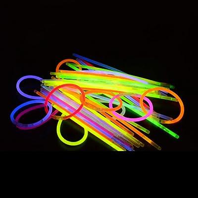 """100pcs Palo de Luz Partido Pulseras Luminosas, Kwock 8"""" Prima Esposas, Collares, Crear Gafas, Pulseras Triples, Diadema, Pendientes, Flores, Bola de Resplandor Con los Pulsera Conectadores 100pcs: Bricolaje y herramienta"""