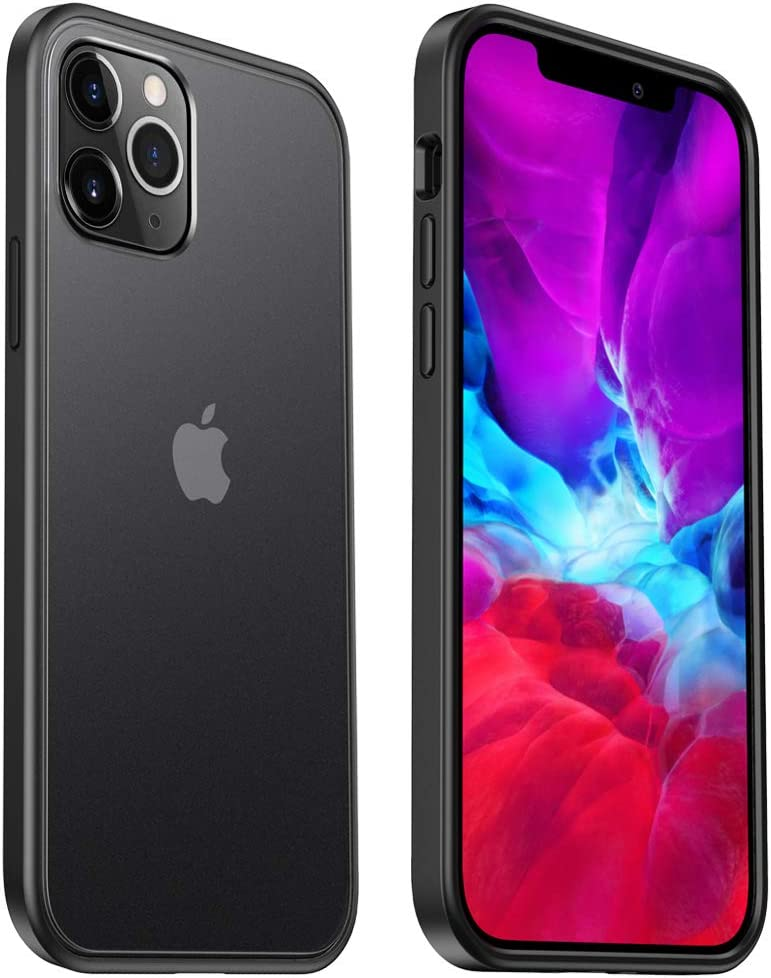 ICARERCASE Compatible for iPhone 12 Pro Max Case Shockproof Slim Translucent Clear Matte PC Case with Soft TPU Edges, Anti-Slip and Anti-Fingerprint for 2020 Model(Black)