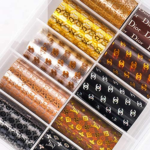 10 Rolls Luxury Nail Foil Transfer Stickers Luxury Design Nail Art Foil Adhesive Decals 3-d Nail Art Stickers Decals Nail Foil Art Supplie Nail Accessories