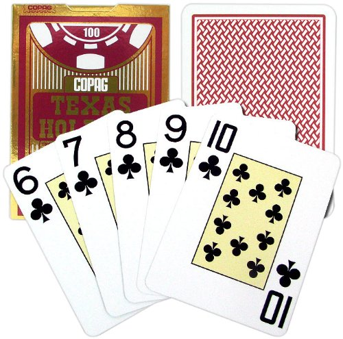 Texas Single (Copag Poker Size Jumbo Index Texas Holdem Playing Cards (Single Red Deck))