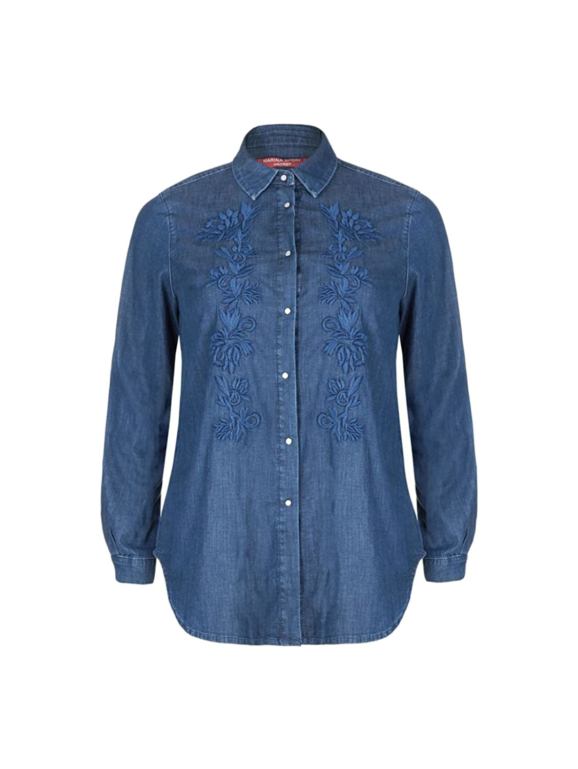 Marina Rinaldi Women's Barico Embroidered Blouse Denim
