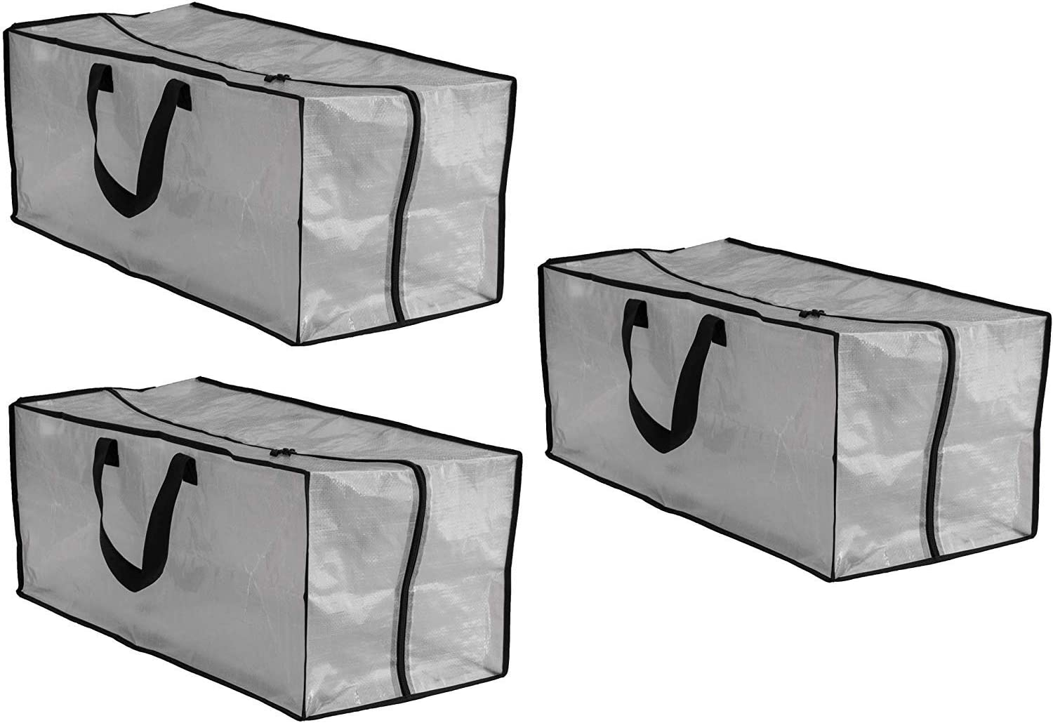Earthwise Clear Storage Bags Heavy Duty Extra Large Transparent Moving Totes w/Zipper Closure Reusable Backpack Carrying Handles - Compatible with IKEA Frakta Hand Carts (3 Pack) (29 X 13.5 X 12)