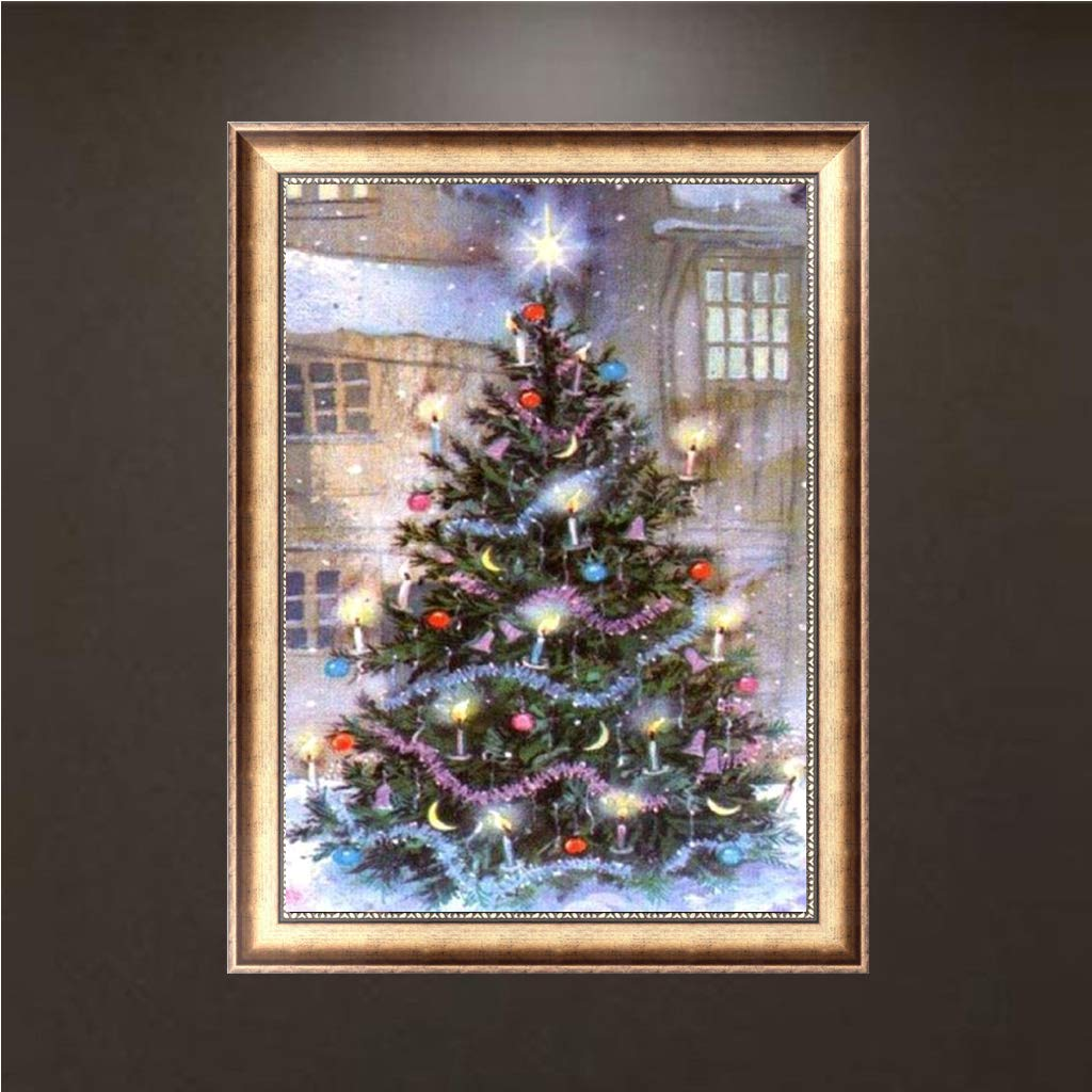 Kids Adults House Drill Paint Gift jigang Christmas LED Tree DIY 5D Full Diamond Painting Flashing Glowing Lighting Tree Drills Cross Stitch Embroidery For Home Bedroom Living Room Wall Xmas Decor