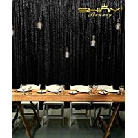 ShiDianYi 6FTX6FT-SEQUIN BACKDROP-Black-Sequin Photo Background,Photo Booth Backdrop,Sequin Backdrop FOR Wedding (Black)
