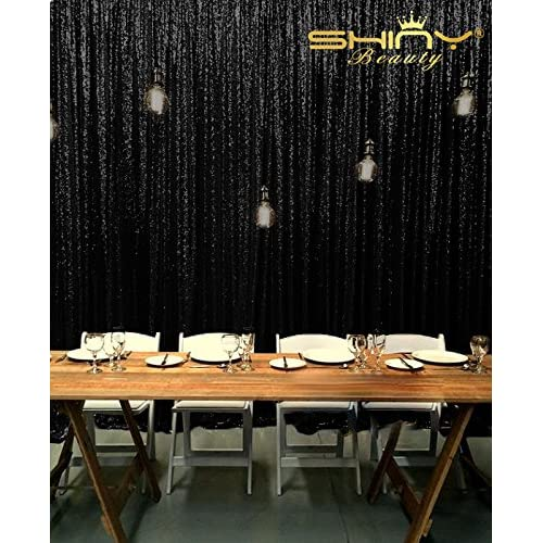 ShiDianYi 8 X 8, Ready to Dispatch,Black Sequin Backdrops,Black Sequin Photo Booth Backdrop, Party Backdrops,wedding Backdrops, Sparkling Photography Prop