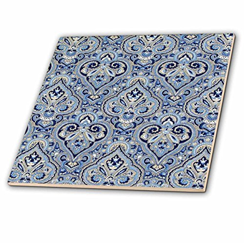 3dRose ct_59830_1 French Paisley Blue Ceramic Tile, 4""