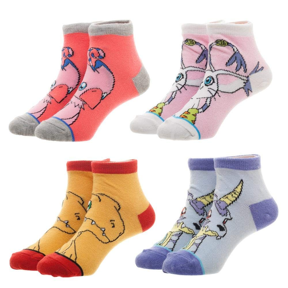 Digimon Anime Themed Set of 4 Youth Ankle Pedi Socks