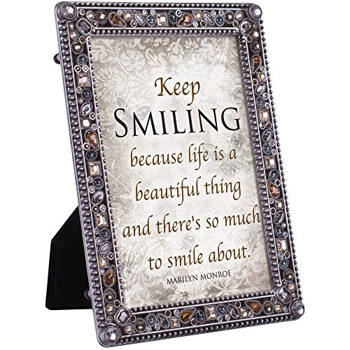 Cottage Garden Keep Smiling Life is Beautiful Jeweled Pewter Colored 5 x 7 Easel Back Photo Frame