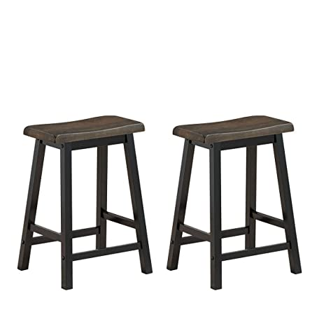 Excellent Costway Saddle Seat Stools Wood Vintage Counter Height Chairs Modern Backless Design Indoor Furniture For Kitchen Dining Pub And Bistro Set Of 2 Pdpeps Interior Chair Design Pdpepsorg