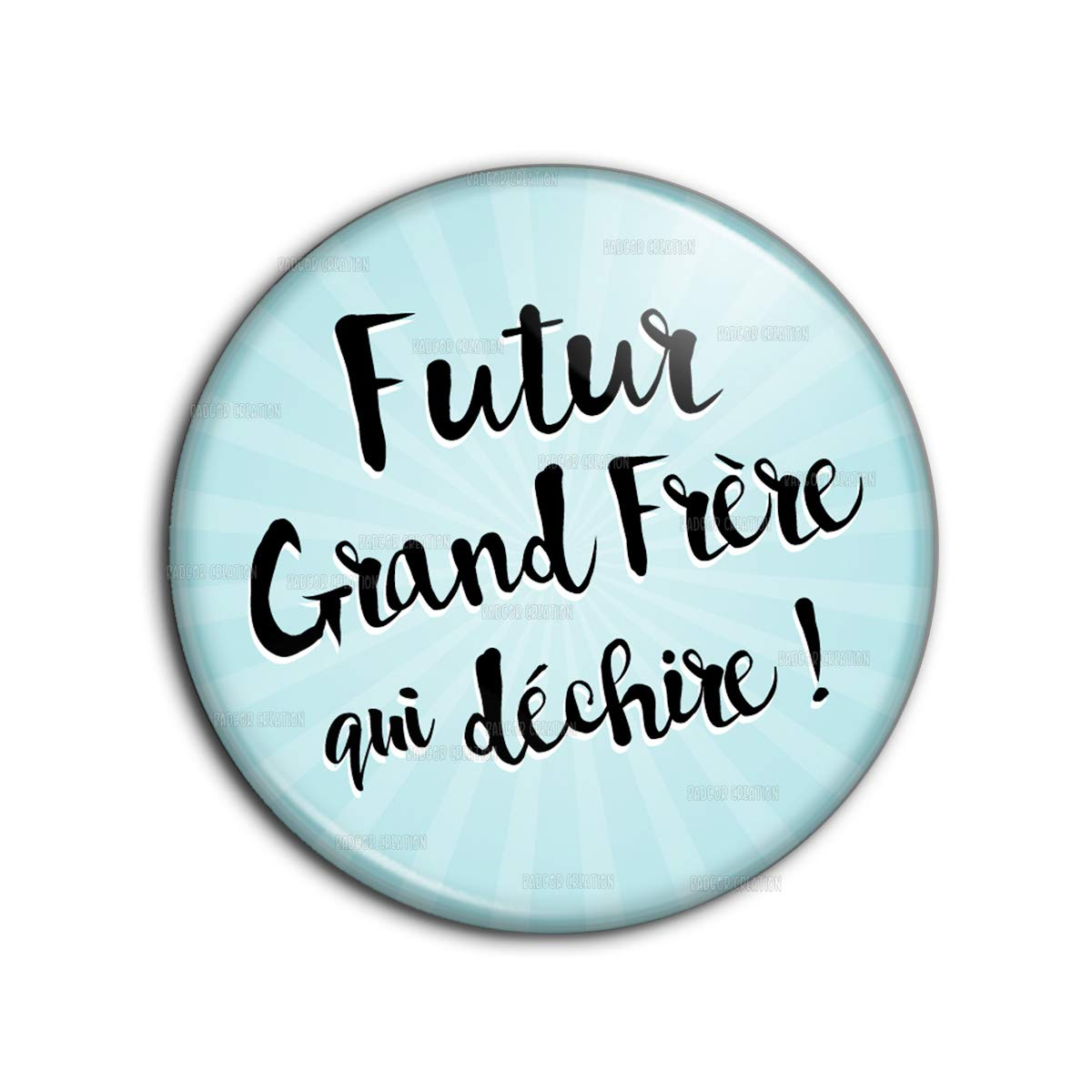 Badge 38mm Futur Grand Frère Qui Déchire - Fond Bleu - Humour Annonce Naissance Bébé Pins Bouton Epinglette