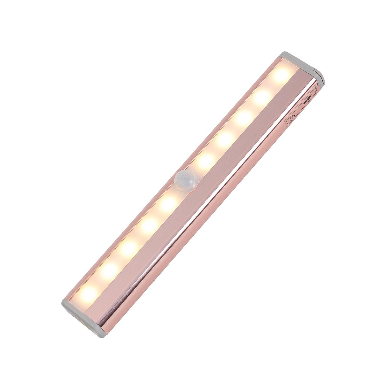 Zoeson - Luz de armario con sensor de movimiento, 10 luces LED de color cá lido bajo armario 10 luces LED de color cálido bajo armario
