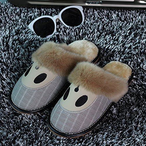 Inverno habuji pantofole di cotone borse con antiscivolo scarpe caldo home pantofole scarpe simpatico cartoon femmina tendenza, 41-42, grigio argento