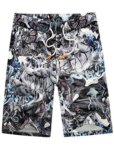 Grey Hawaiian Print Boardshorts - 1