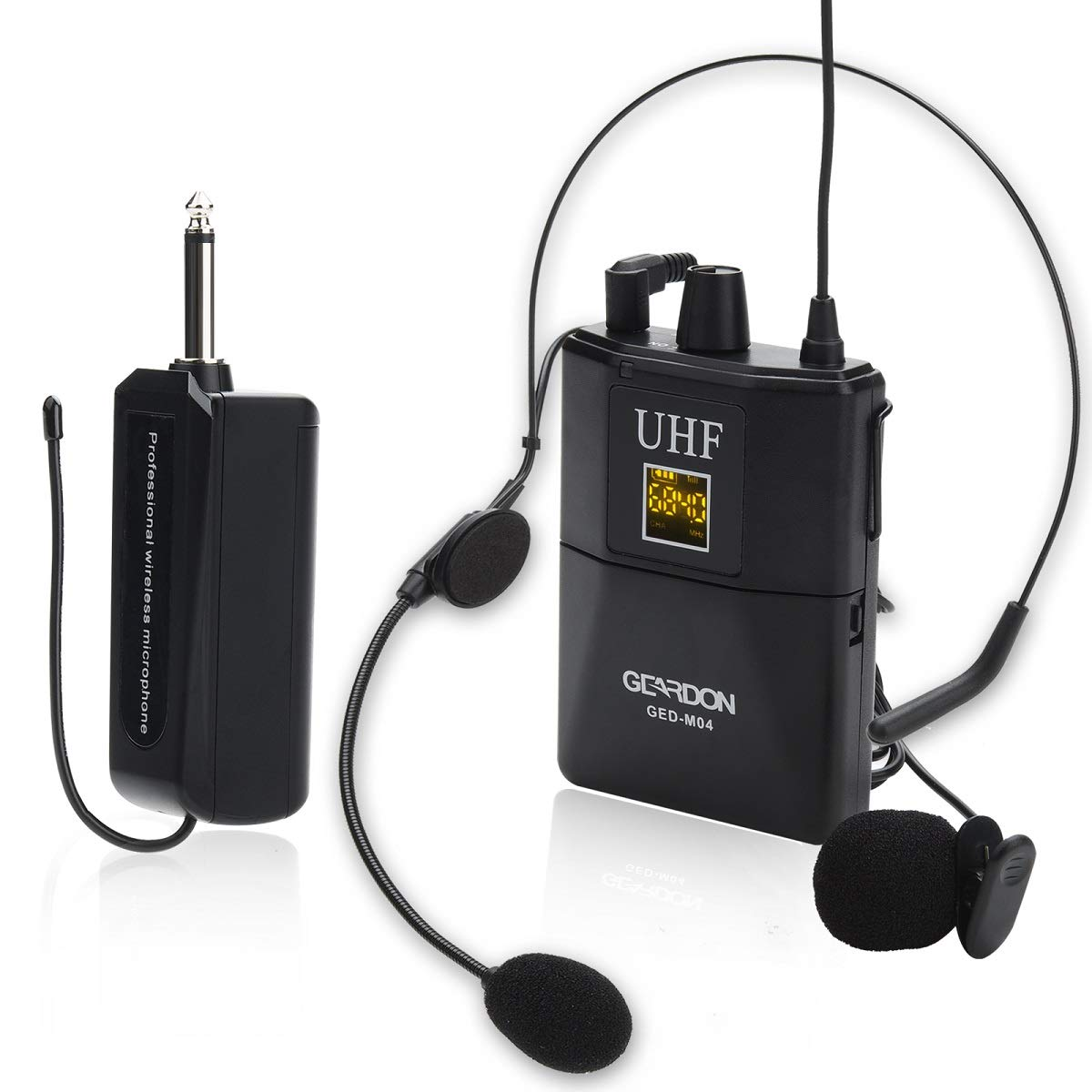 GEARDON UHF Lavalier Lapel Microphone, Wireless Headset Mic with Bodypack Transmitter and Mini Rechargeable Receiver for Teaching/Public Speaking/Church by GEARDON