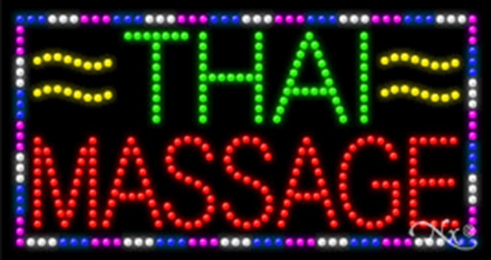 17x32x1 inches Thai Massage Animated Flashing LED Window Sign by Light Master