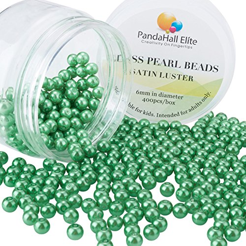 (PandaHall Elite 6mm About 400Pcs Tiny Satin Luster Glass Pearl Round Beads Assortment Lot for Jewelry Making Round Box Kit Green)
