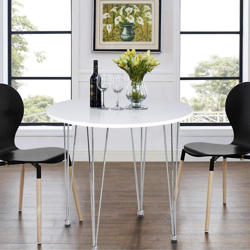 cheap for discount 3bd91 96bc6 ASUUNY White Dining Table, Round Kitchen Table, Small Dining Table Modern  Coffee Table with Hairpin Legs for Dining Room Kitchen Office Lounge