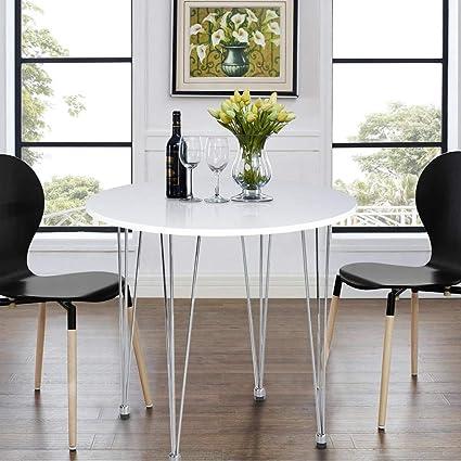 ASUUNY Tavolo da Cucina Rotondo, Tavolo da Cucina Bianco, tavolino ...