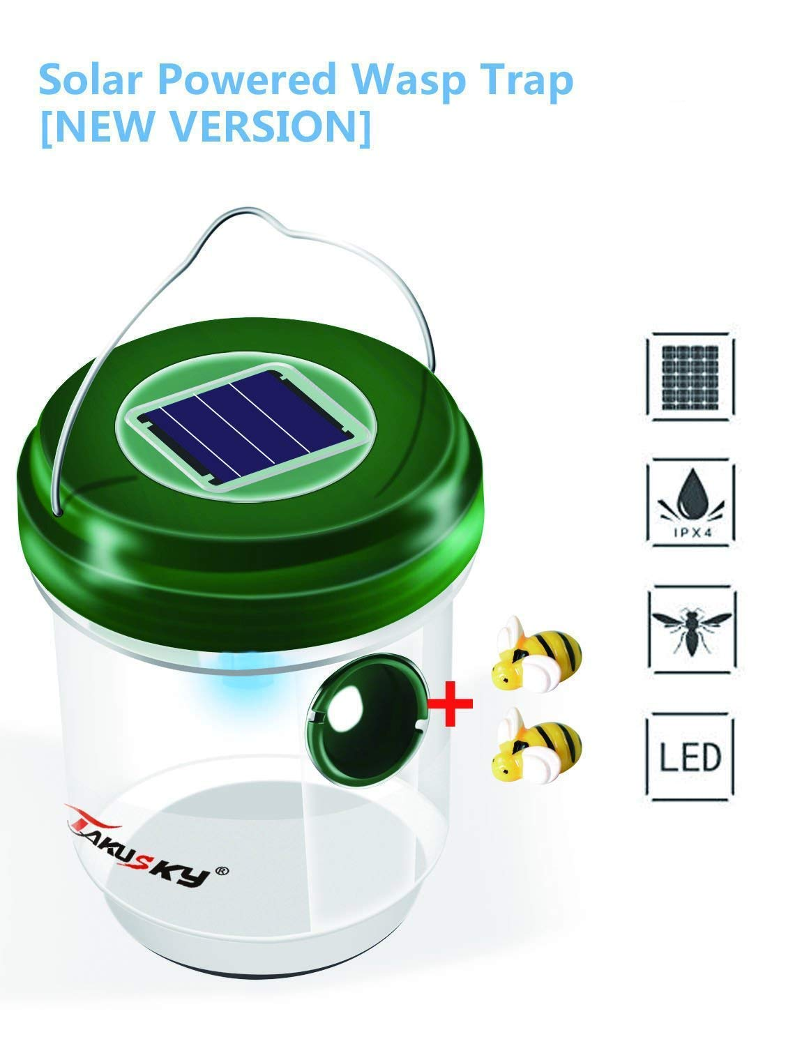 Wasp Trap Catcher,Bee Trap,Hornet Repellent,Waterproof Solar Powered Wasp Trap with Ultraviolet LED Light for Wasps,Hornets, Yellow Jackets, Bees, Bugs in Home Garden[New Version]