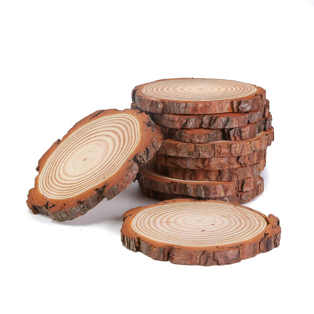 Natural Wood Slices with Tree Bark 12pcs 3 3.5 inch Wood Discs for Centerpieces Coasters Ornaments DIY Crafts
