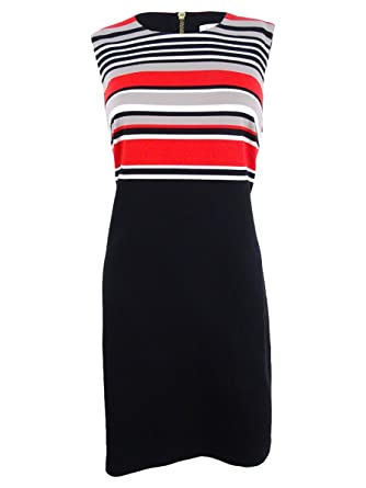 9ed4e6dc Image Unavailable. Image not available for. Color: Calvin Klein Women's  Striped Sheath Dress ...
