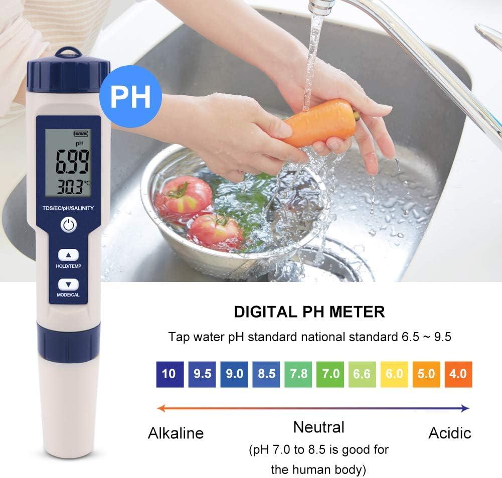 BQSWYD 5 en 1 TDS//EC//PH//Salinidad//Medidor Probador de Monitor de Calidad de Agua Digital Impermeable con Funci/ón de Calibraci/ón Autom/ática Probador de PH de Calidad de Agua para Piscinas